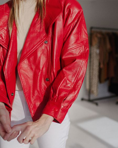 Kaleidos Vintage 80s Cherry Leather Bomber Jacket - Red