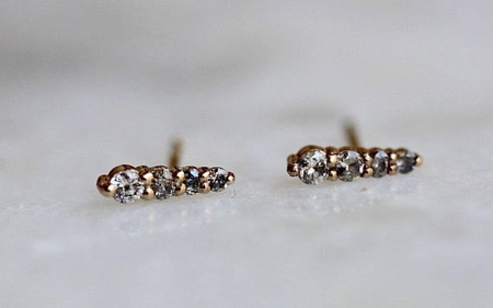 Form Fine Goods grey diamond stud earrings - 14k Yellow Gold