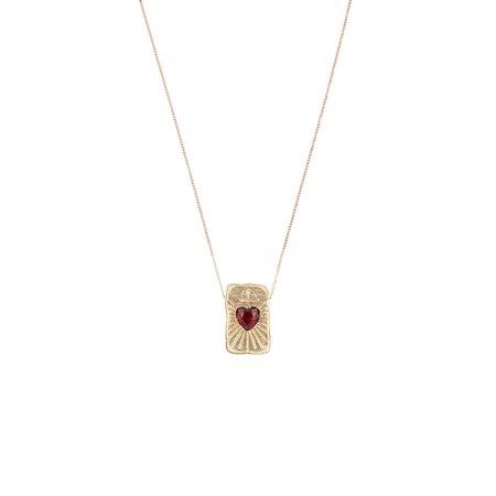 Pascale Monvoisin L'Amour Garnet Necklace - 9K Yellow Gold