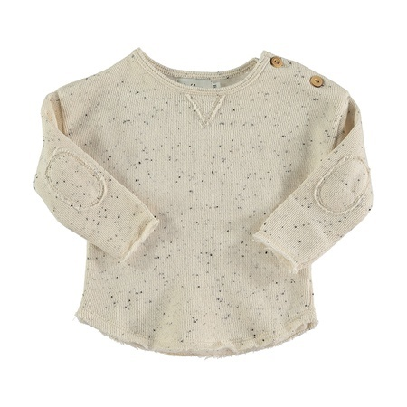 KIDS Buho Jansen Melange Fleece Sweater - Ecru