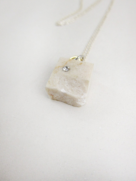 FAUX/real Tea Time Necklace, White Marble
