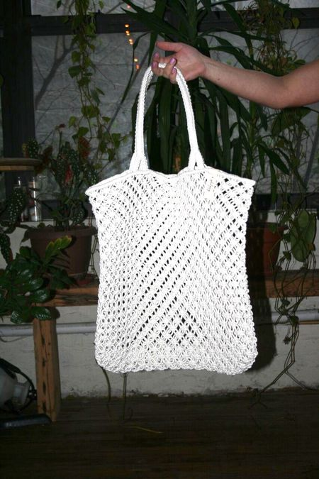 THE BEACH PEOPLE Macrame Cotton Cord Tote Bag - Ivory