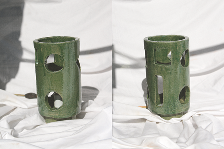 Morgan Peck Short Piling Lamp - Seaweed Green