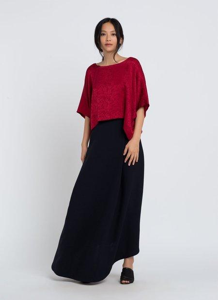 KAAREM Journal Dolman Cropped Silk Top - Scarlet Floral