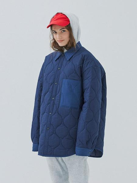 GROUNDWAVE Oversize Quilting Shirt Jacket - Navy