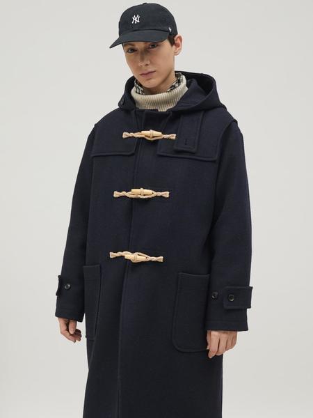 BRUMAN Long Duffle Coat - Navy