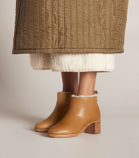FEIT Braided Shearling Mid Heel Boot - Tan