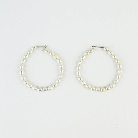 Blade & Knoll Small Pearl Hoops - Silver