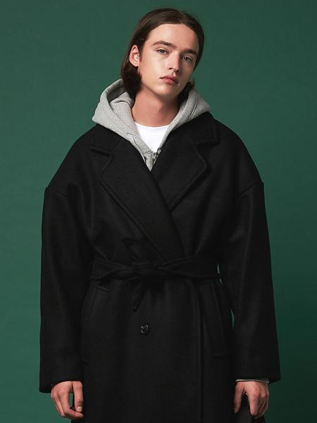 Unisex ANOTHER FRAME Double Button Heavy Wool Coat - Black