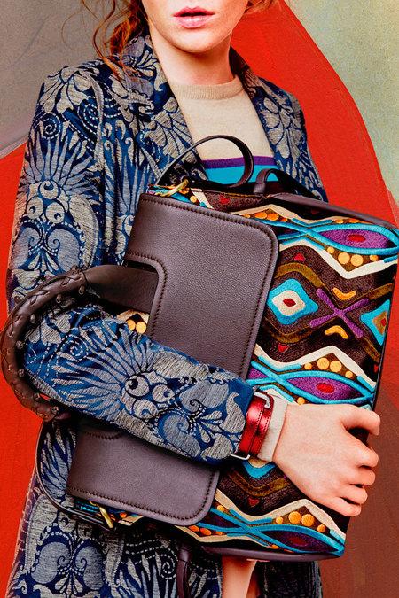 Maliparmi embroidered large satchel shoulder bag