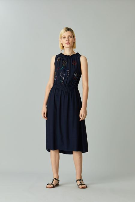 Megan Park Poppy Beaded Dress - Navy