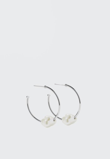 hidden Baroque Hoop Earrings - silver