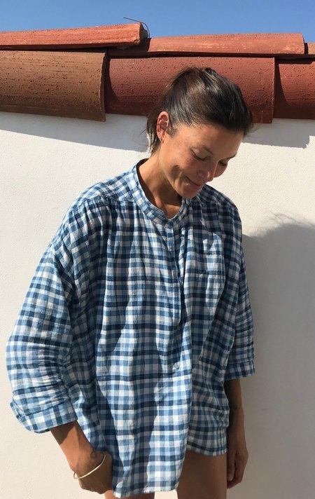 Two Plaid Button Shirt - White/Blue