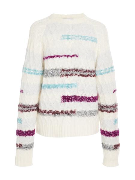 Tanya Taylor Cable Lora Knit Top - Cream Multi