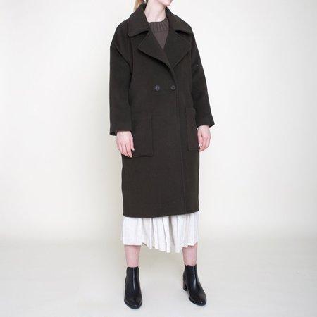 7115 by Szeki Classic Long Wool Coat - Olive