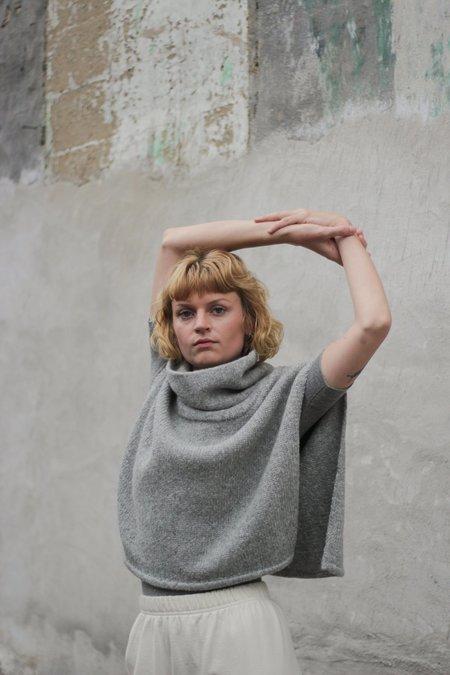 Wol Hide Box Poncho - Heather Grey