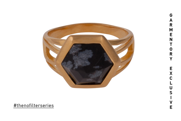 EXCLUSIVE: Shahla Karimi Hex Set Ring with Moss Agate