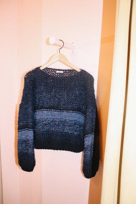 Maiami Tweed Melange Big Sweater - Navy