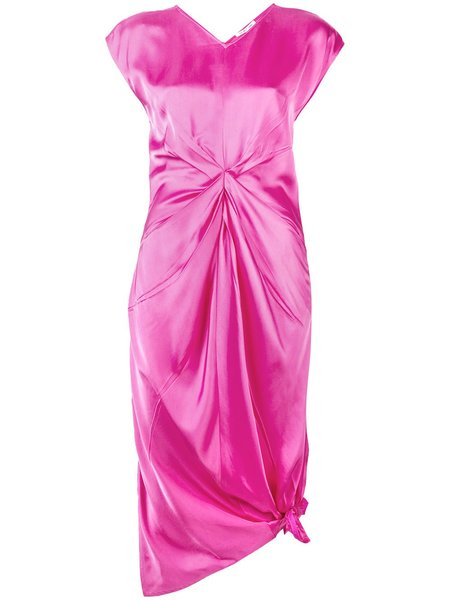 HELMUT LANG Twisted Front Satin Dress - pink