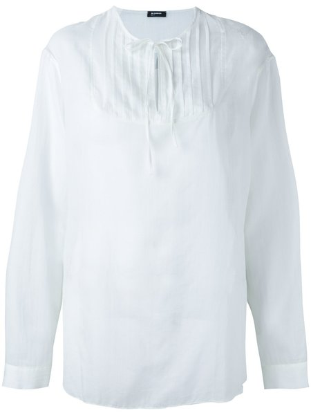 JIL SANDER NAVY Tie Neck Shirt - White