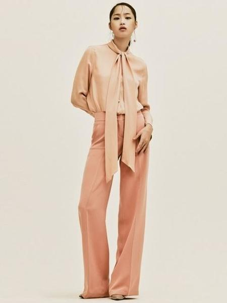 Avouavou Silk Stitch Wide Pants - Peach