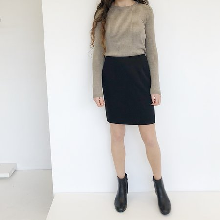 Vintage Johan Silk Pencil Skirt - Black