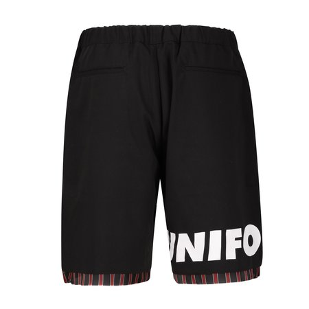 Uniform Experiment Cut Hem Stripe Layered Shorts - Black