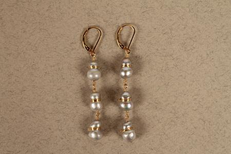 Dana Kellin 3 Stone Drop Earrings - pale blue/pearl