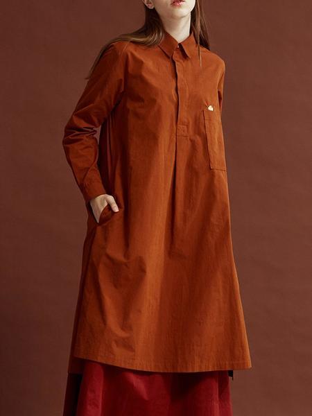 HOMFEM Nuee Long Tunic Dress - Brick
