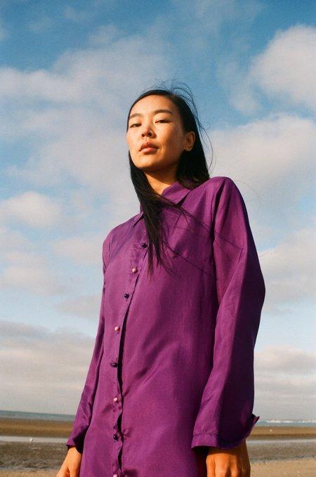 La.Bleue Purple Silk Dress - Purple