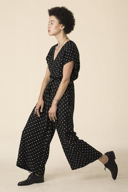 Ali Golden Jumper with Belt - Cream Dot/Black
