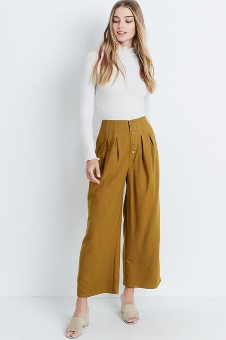 CloudWalk To the City Cropped Button Fly Pants - Mustard