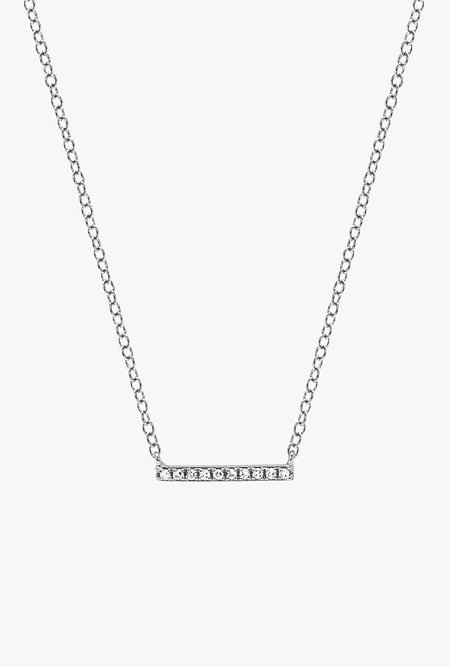 EF Jewelry Diamond Mini Bar Necklace - 14k Rose Gold/White Diamonds