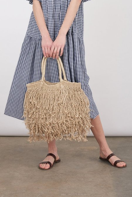Maison Bengal Jute Macrame Long Fringe Bag - Natural