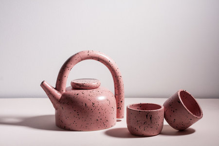 YYY Puff Teapot - Dark Peach Speckle