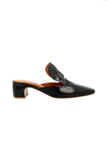 By Far Alexa Mules Lizard Patent - Black