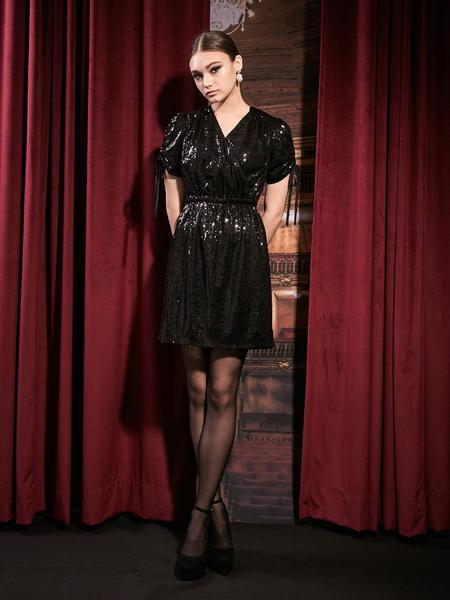 DEBB Mini Spangle Dress - Black