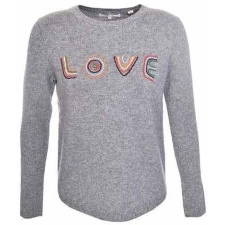 Chinti and Parker Embroidered Love Sweater - Grey