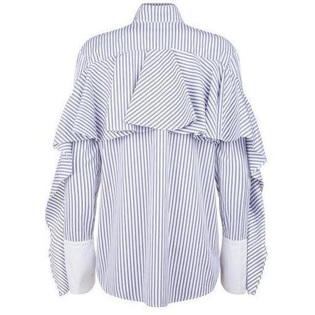 Monographie Ruffle Long Sleeve Shirt - Blue/White Stripe