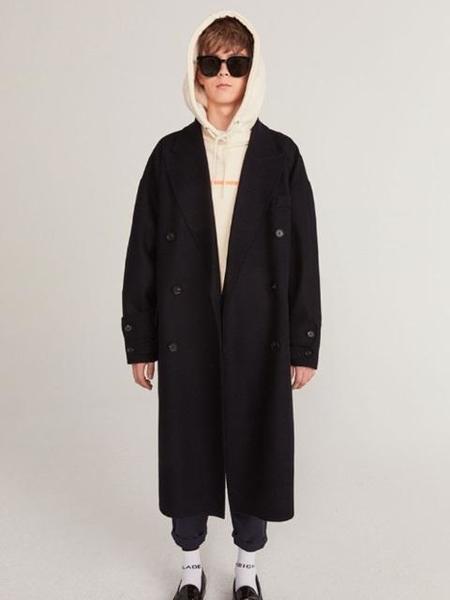 Unisex HEICH BLADE Double Handmade Wool Coat - Navy