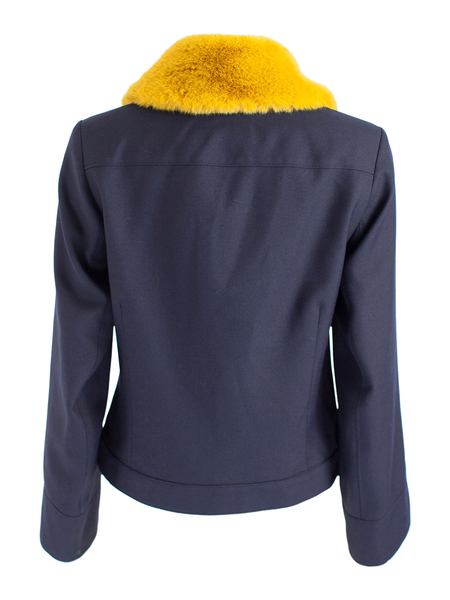 BAUM UND PFERGARTEN Boa Shearling Collar Jacket - Night Sky