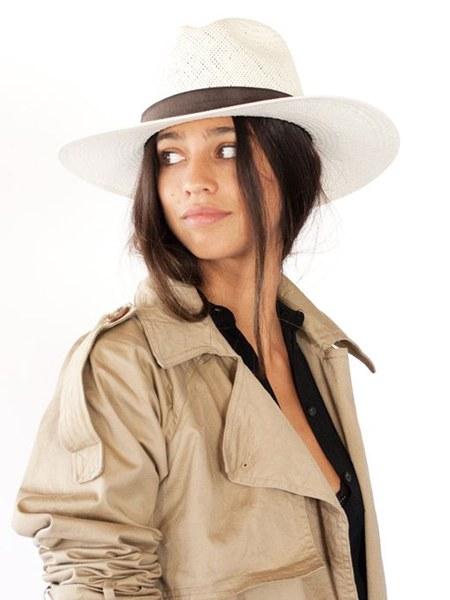 Janessa Leone Marcell Straw Fedora Hat - Off White