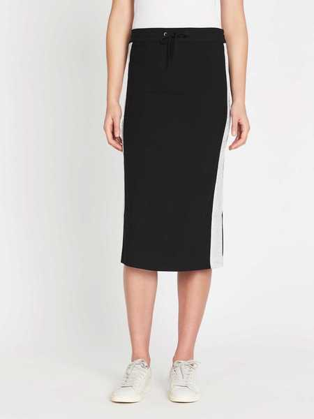 Zoe Karssen Silver Taping Relaxed Midi Skirt - black