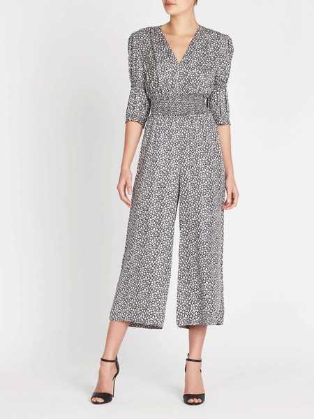 Rebecca Taylor Lauren Floral Silk Jacquard Jumpsuit - Blueberry Combo