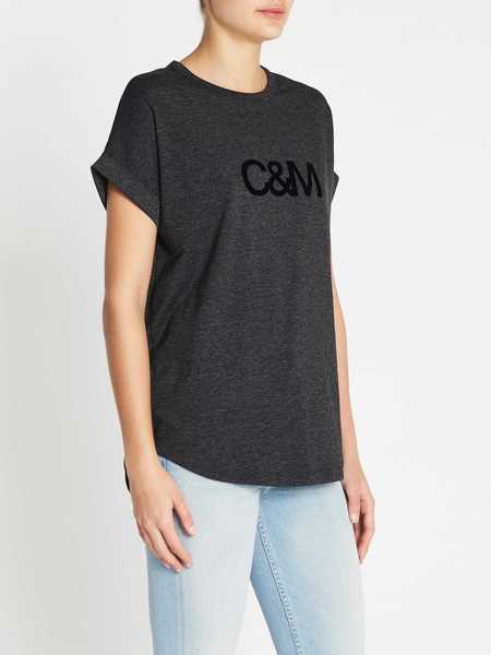 C & M Camilla And Marc Logo Roll Sleeve Tee - Charcoal Marle
