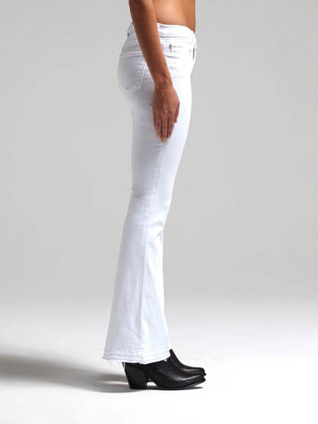 J Brand Mid Rise Sneaker Flare Jean - White