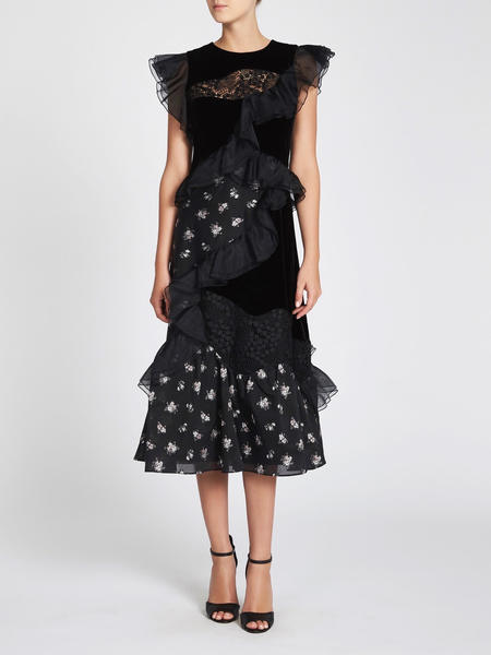 Rebecca Taylor Jacquard & Velvet Dress - Floral