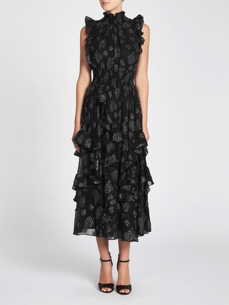 Rebecca Taylor Rose Metallic Clip Dress - Rose Print
