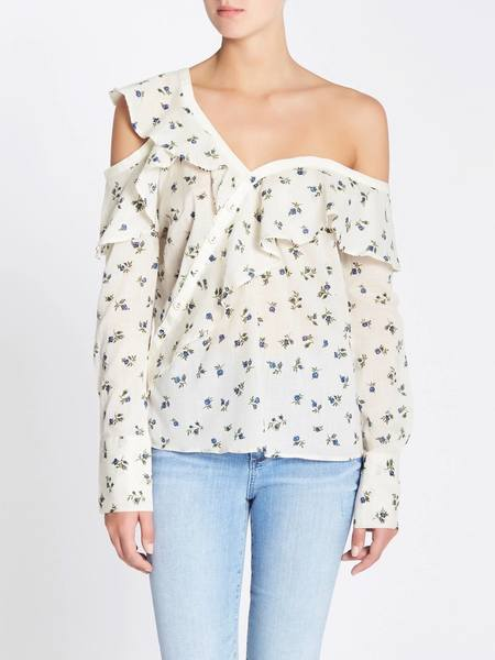 Paige Marlow Top - Papyrus/China Blue