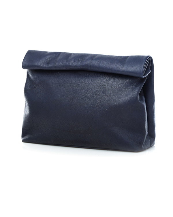 Marie Turnor Lunch Clutch in Navy Pebble Leather
